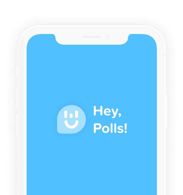 Image of phone with Hey,Polls! logo